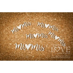 Chipboard - Mrs & Mr with heart / 5pcs