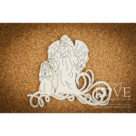 Chipboard -Guardian Angel with a girl + decor