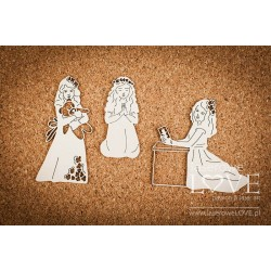 Chipboard -Communion girl /3pcs