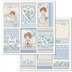 Scrapbooking Paper- 12x12 Sheet - Little Boy Frames