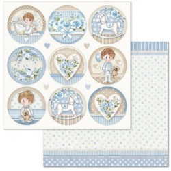 Scrapbooking Paper- 12x12 Sheet - Little Boy Round tags