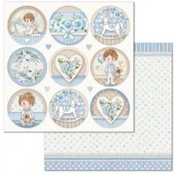 Scrapbooking Paper- 12x12 Sheet - Little Boy Round tags