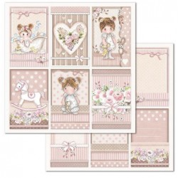 Scrapbooking Paper- 12x12 Sheet - Little Girl Frames