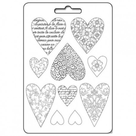 Plastic Mold - Textured Hearts / 10 elements