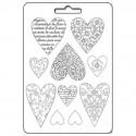 Plastic Mold A4 - Textured Hearts - 10 elements