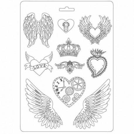 Plastic Mold -  Hearts and Wings / 10 elements