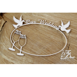 Chipboard - Love banners  with doves