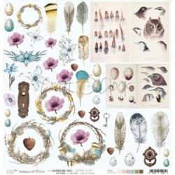 Scrapbooking Paper- 12x12  SHEET OF EXTRAS TO CUT/ Hummingbird Song