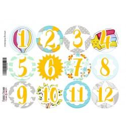 Sticker sheet - NUMBERS /12 pcs