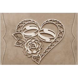 Chipboard - Heart with engagement rings