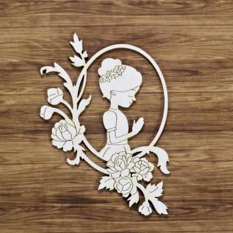Chipboard - Communion girl in oval frame