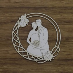 Chipboard - Bride & Groom in round frame