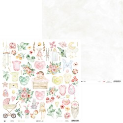 Scrapbooking Paper- 12x12  SHEET OF EXTRAS TO CUT/ Baby Joy -Girl