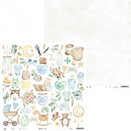Scrapbooking Paper- 12x12  SHEET OF EXTRAS TO CUT/ Baby Joy - Boy