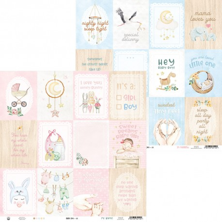 Scrapbooking Paper- 12x12  SHEET OF EXTRAS TO CUT/ Baby Joy
