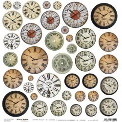 Scrapbooking Paper- 12x12  SHEET OF EXTRAS TO CUT/ Clocks