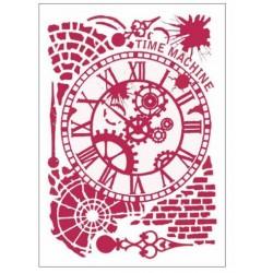 """Big Stencil 75 - STAMPERIA """"Time machine"""""""
