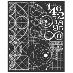"Thick stencil -Stamperia /Cosmos astronomy and numbers STAMPERIA ""Time machine"""