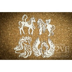 "Chipboard -  Unicorns ""C""  / 4 pcs"