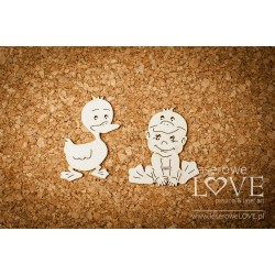 Chipboard -  Baby with duck