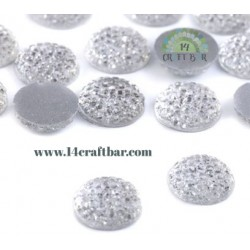 Flatback Glitter Gem 68mm - CRYSTAL